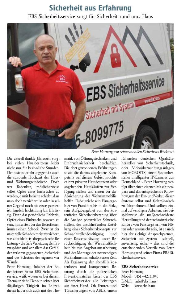 Zeitungsartikel EBS Sicherheitsservice